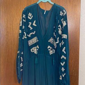 Free people long sequin sheer dress